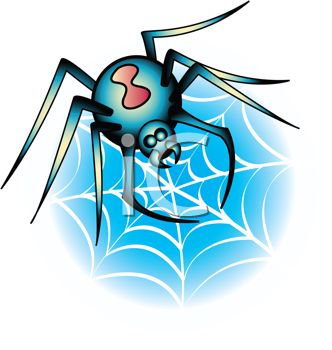 332x350 Picture Of A Black Widow Spider Making A Web In A Vector Clip Art
