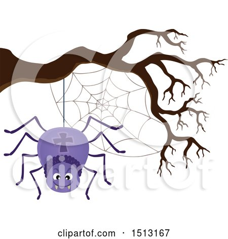 450x470 Clipart Of A Purple Spider And Web Hanging From A Bare Tree Branch