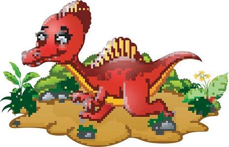 465x300 Cartoon Red Spinosaurus Premium Clipart