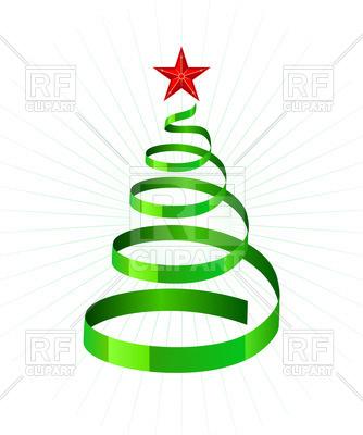 334x400 Green Spiral Ribbon As Symbolic Xmas Tree Royalty Free Vector Clip