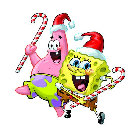 445x417 spongebob and patrick wishing you happy holidays from the
