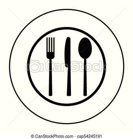 450x470 Fork, Knife And Spoon On Plate Background. Vector Eps Vectors