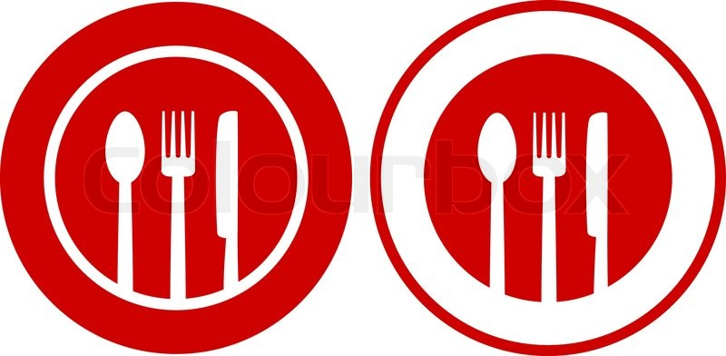 800x392 Two Icons With Plate, Fork, Spoon, Knife On Red And White