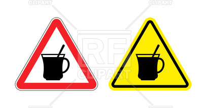 400x214 Triangular Attention Sign With Silhouette Of Cup With Spoon