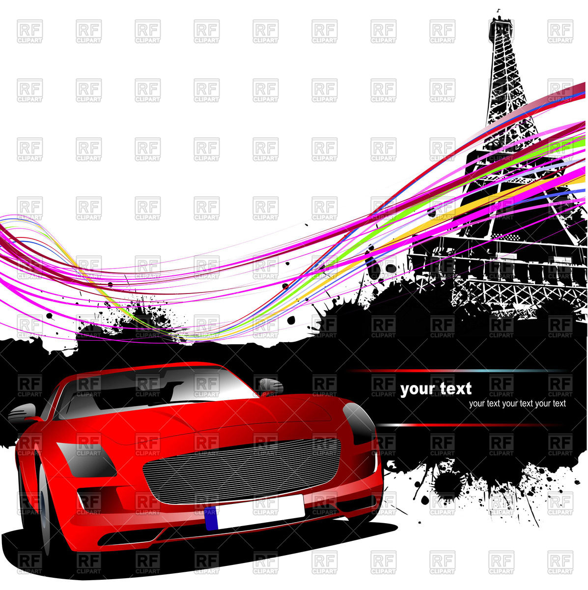 1197x1200 Grunge Background With Red Sport Car And Eiffel Tower Royalty Free