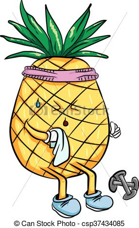 286x470 Bright Cartoon Pineapple Playing Sports In The Summer . Vector