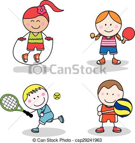 443x470 Kids Sport Collection Clip Art Vector