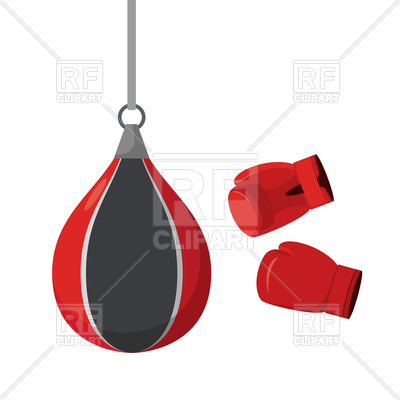 400x400 Punching Bag And Gloves, Sports Equipment Royalty Free Vector Clip