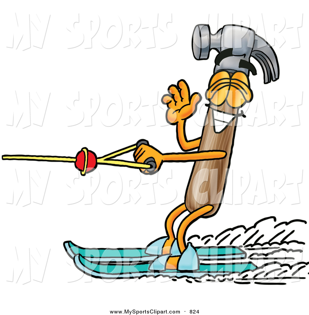 1024x1044 Sports Clip Art Of A Hammer Waving While Water Skiing By Toons4biz