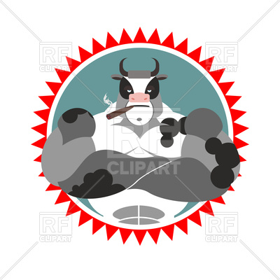 400x400 Strong Bull With Cigar, Logo For Sports Club Royalty Free Vector
