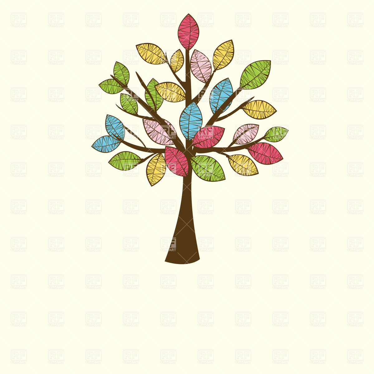 1200x1200 Colorful Spring Tree Royalty Free Vector Clip Art Image