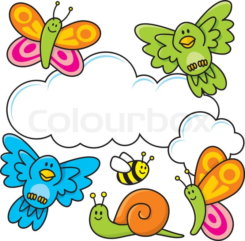 800x786 A Spring Scene With Baby Animal Cartoons, Butterflies, Birds, Bee