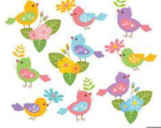 235x187 Pastel Chatter Birds Cute Digital Clipart