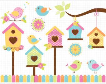 340x270 Summer Garden Clipart, Bird And Birdhouse Clip Art