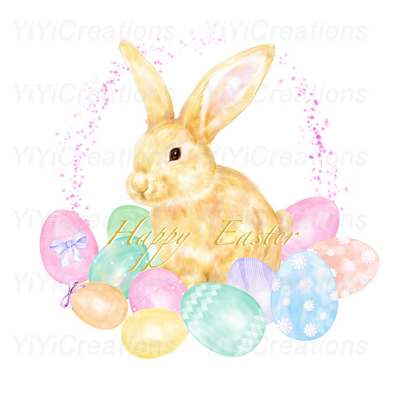 570x570 Easter Charm Clipart Spring Watercolor Bunny Painting Rabbit