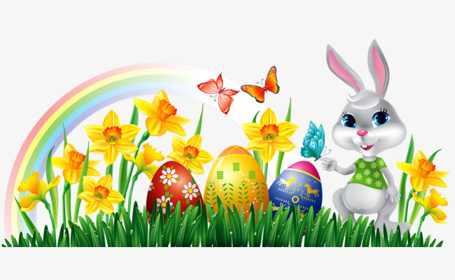 650x400 Green Grass Flowers Small Rabbit Creative, Rainbow, Cartoon Rabbit
