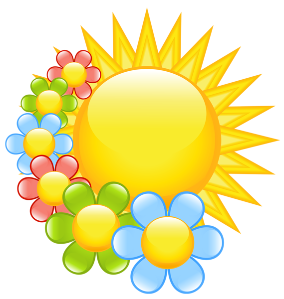 569x600 Spring Sun With Flowers Clipart Clipart Flowers