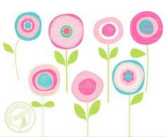 236x196 Pink Flower Clipart Spring Flowers Floral Vector Clip Art Digital