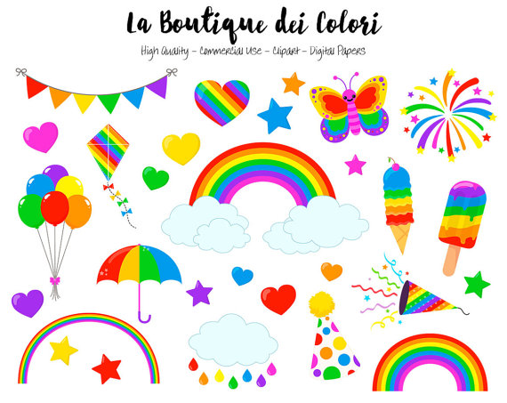 570x453 Rainbow Clipart, Cute Graphics Png, Colorful Rainbow Party Clip