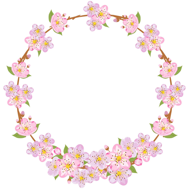 1500x1500 Spring Clipart, Sakura Clipart, Spring Wreath, Flower Wreath