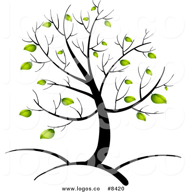 600x620 Royalty Free Clip Art Vector Logo Of A Spring Tree With Green