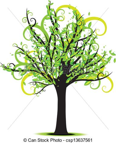 381x470 Beautiful Green Spring Tree Vector With Curly Branches Clip Art