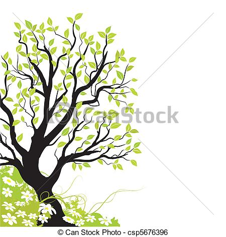 450x470 Spring Vector. Spring Landscape In The Angle Of A Page