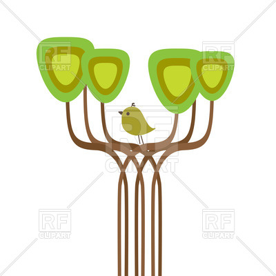 400x400 Stylish Green Spring Tree With Abstract Top Royalty Free Vector