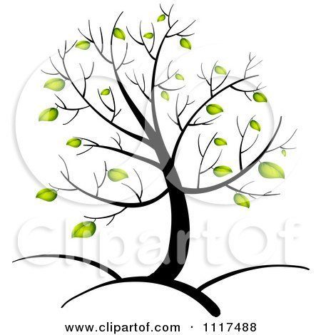 450x470 Vector Clipart Of A Spring Tree With Green Leaves