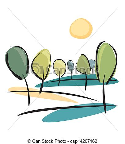 408x470 Vector Park View With Sun And Trees. Spring Trees On The Clip