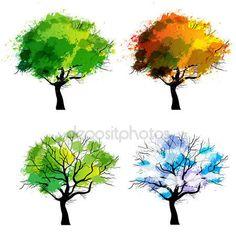 236x236 Four Seasons Trees Clipart Clip Art, Spring Summer Winter Fall