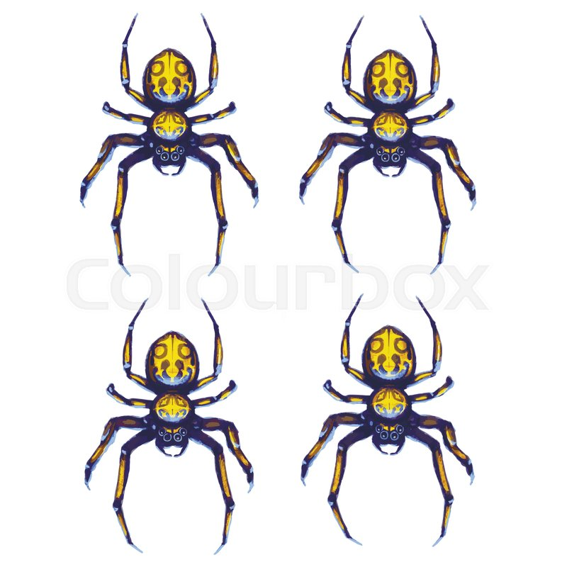 800x800 Sprite Sheet Of Crawling Spider, Game Art Animation Of 4 Frames