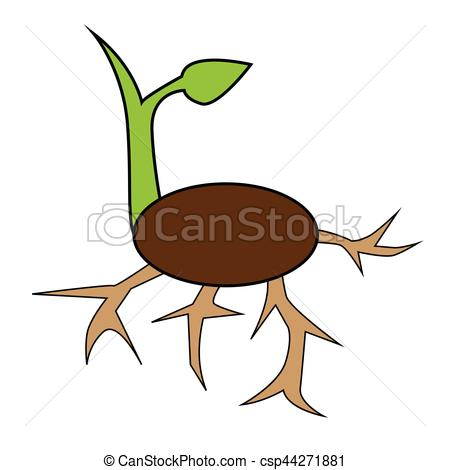 450x470 Simple Flat Color Sprout Icon Vector Vector