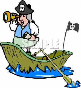 274x300 Royalty Free Clipart Image A Pirate In A Row Boat Looking Through