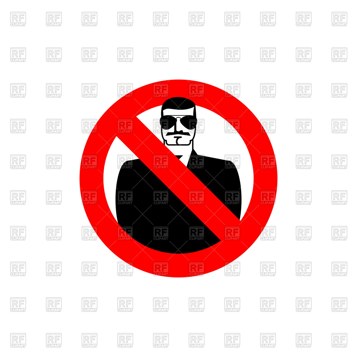 1200x1200 Stop Spy Sign, Red Forbidden Sign With Serious Man In Sunglasses