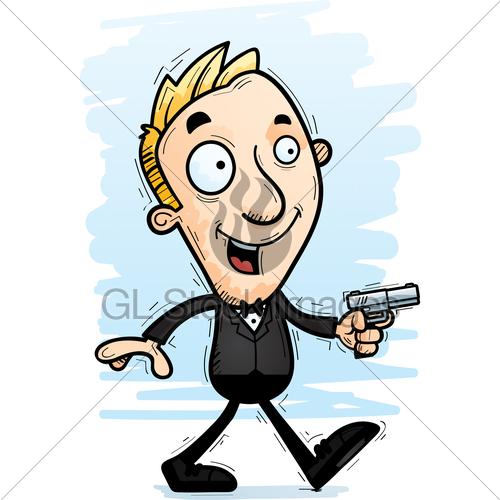 500x500 Cartoon Spy Walking Gl Stock Images