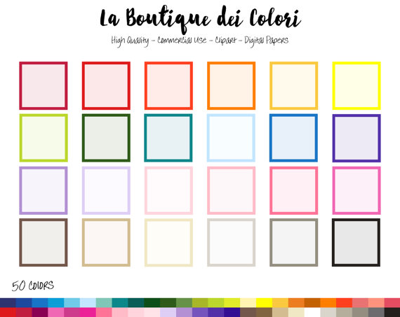 570x453 50 Rainbow Solid Color Square Frame Clip Art, Banners Digital