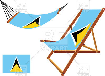 400x289 Saint Lucia Flag Hammock And Deck Chair Royalty Free Vector Clip