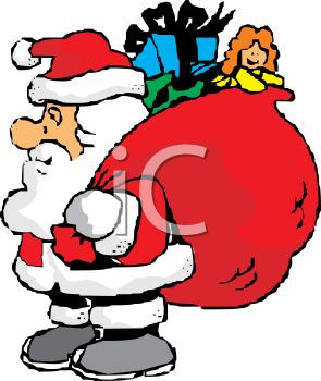 295x350 Fat Little Santa Holding A Bag Of Christmas Toys And Gifts