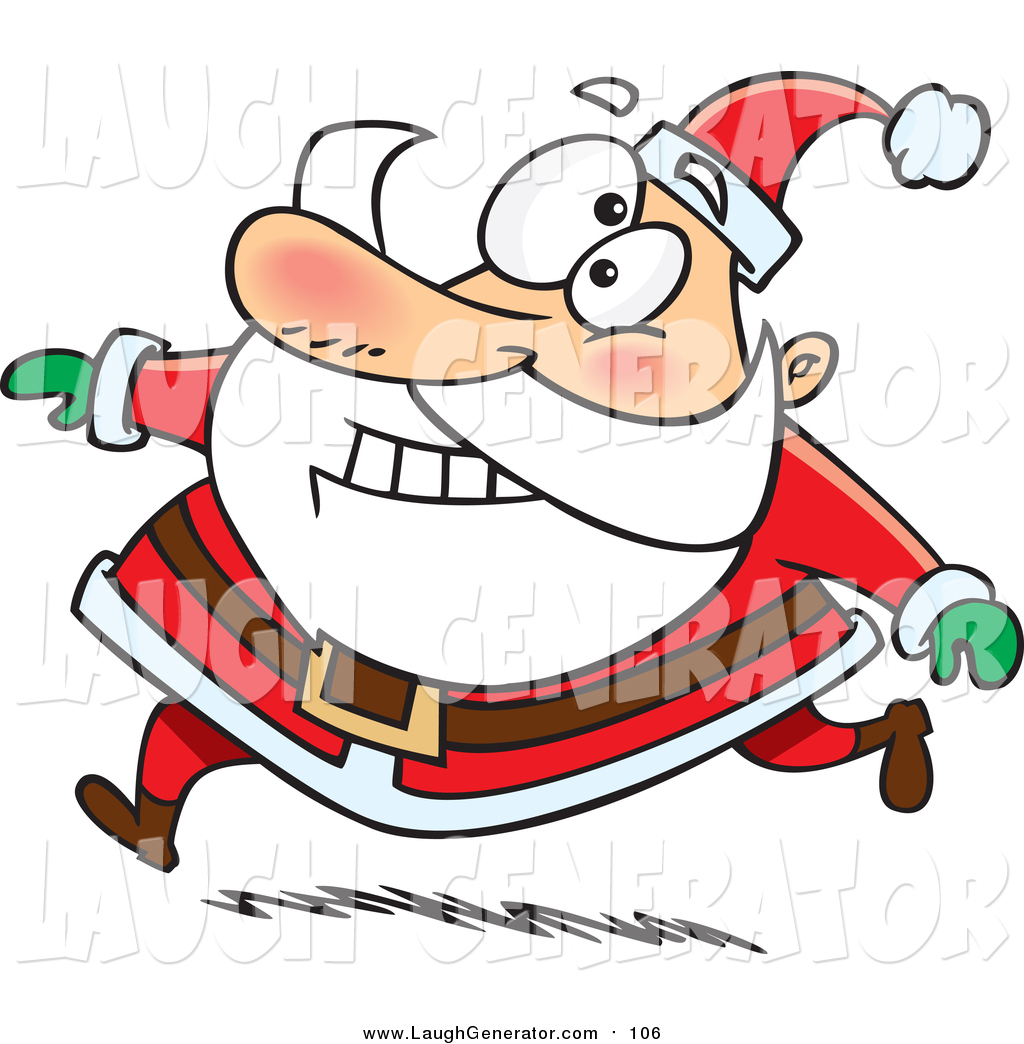 1024x1044 Humorous Clip Art Of A Happy Santa Claus Grinning And Running