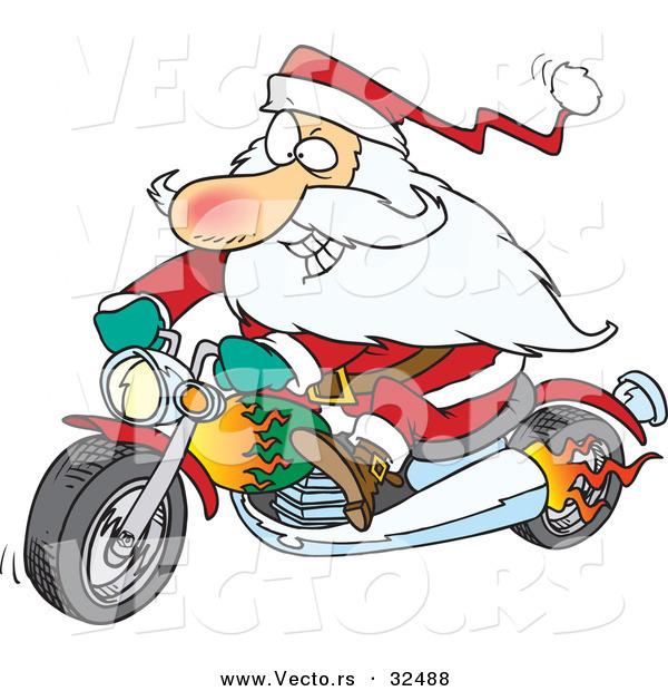 600x620 Cartoon Vector Of A Rebel Biker Santa Riding Motorcycle