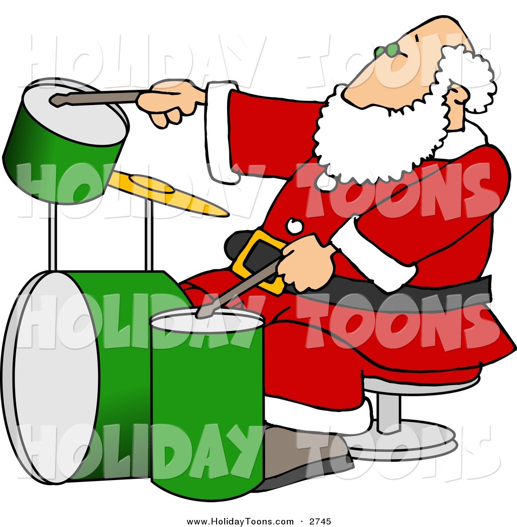 1024x1044 Royalty Free Holiday Clipart Of A Festive Santa Claus Playing