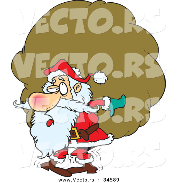 600x620 Cartoon Vector A Tired Santa Carrying A Big, Heavy Sack