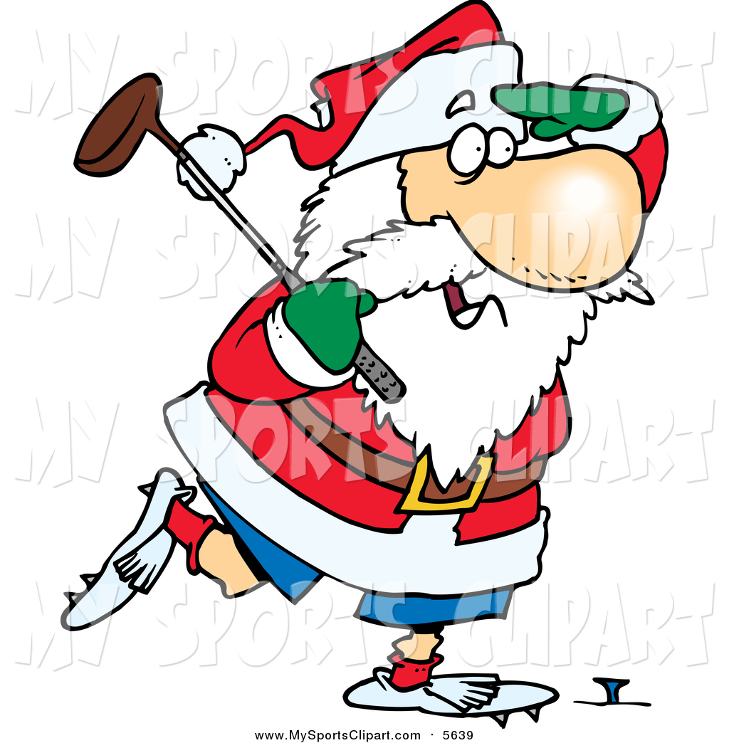 1024x1044 Sports Clip Art Of A Santa Claus Looking Out While Golfing By