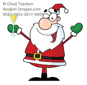 300x293 Clipart Image Of A Happy Cartoon Santa Celebrating The New Year