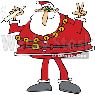 400x400 Clipart Of Santa Claus Wearing His Christmas Suit, Holding A Joint