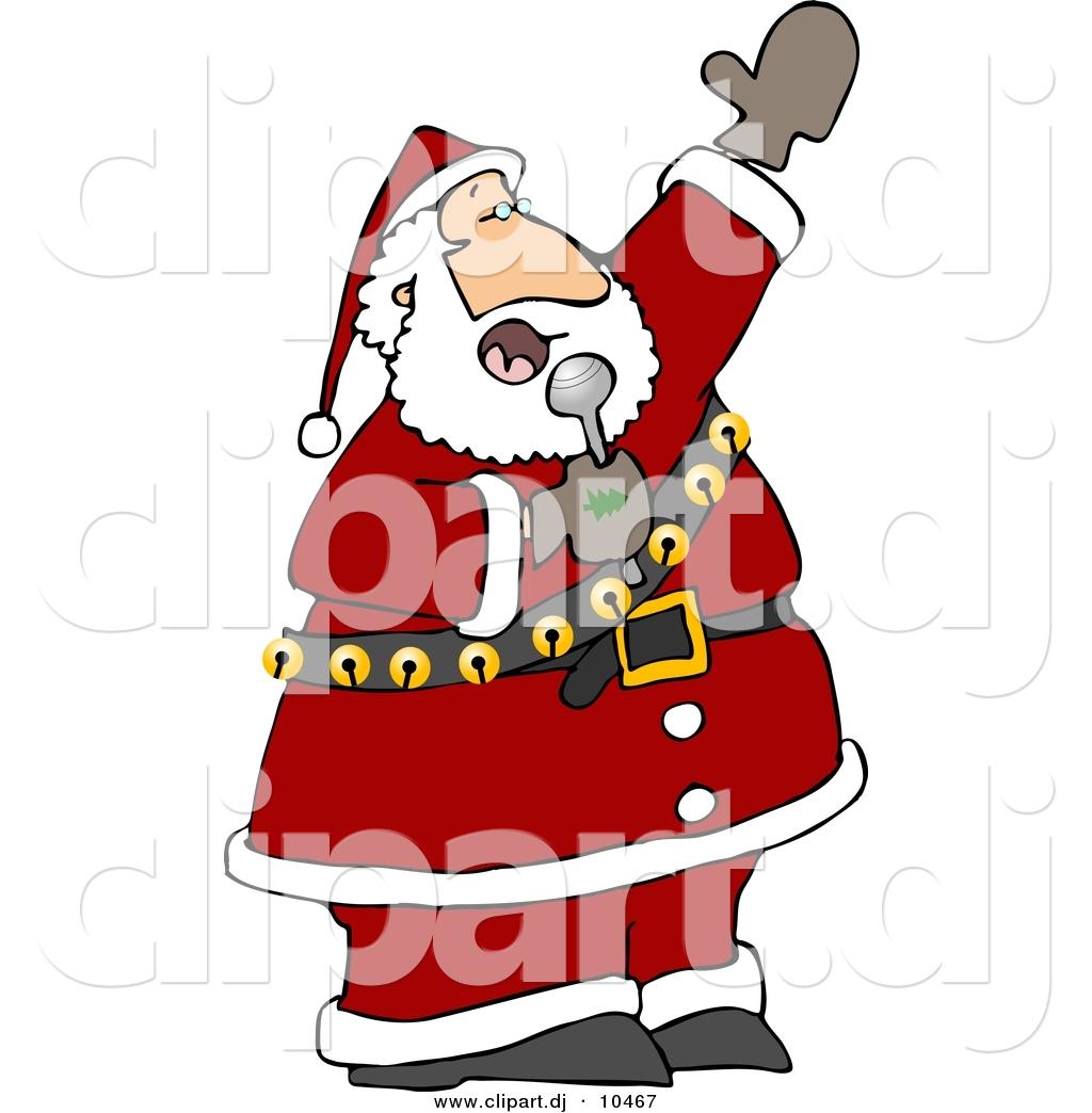 1024x1044 Clipart Of A Cartoon Santa Singing Christmas Music By Djart