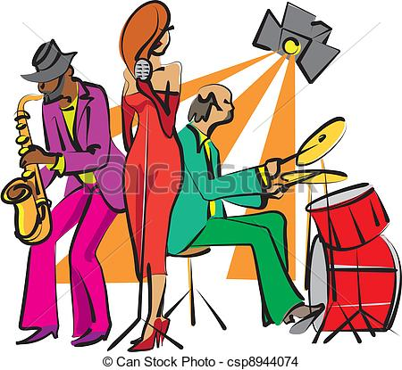 450x415 Jazz Band Playing On The Stage Eps Vector