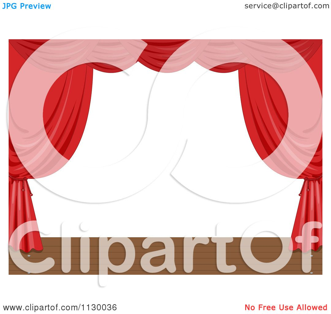 1080x1024 Cartoon Of Red Theater Curtains Framing Copyspace Over A Stage