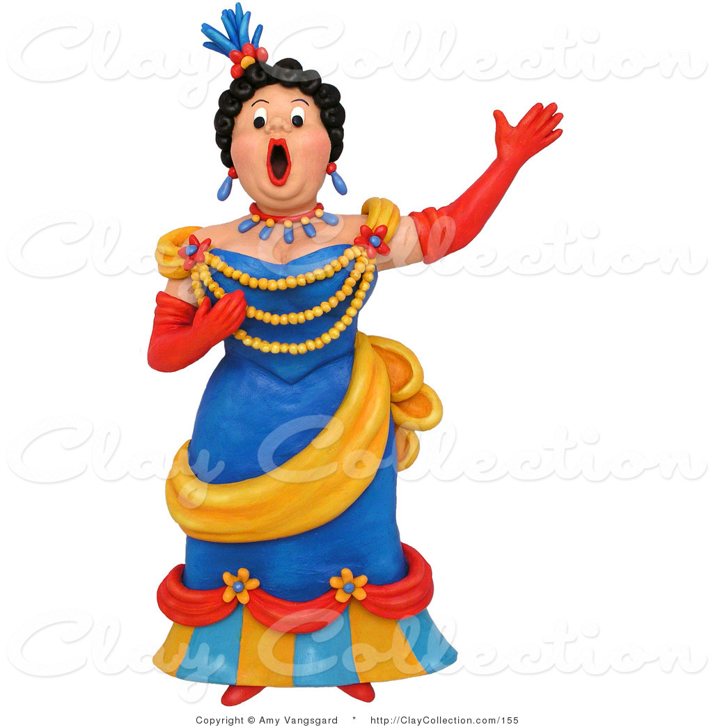 1024x1044 Clay Illustration Of A 3d Opera Singer Woman Performing On Stage